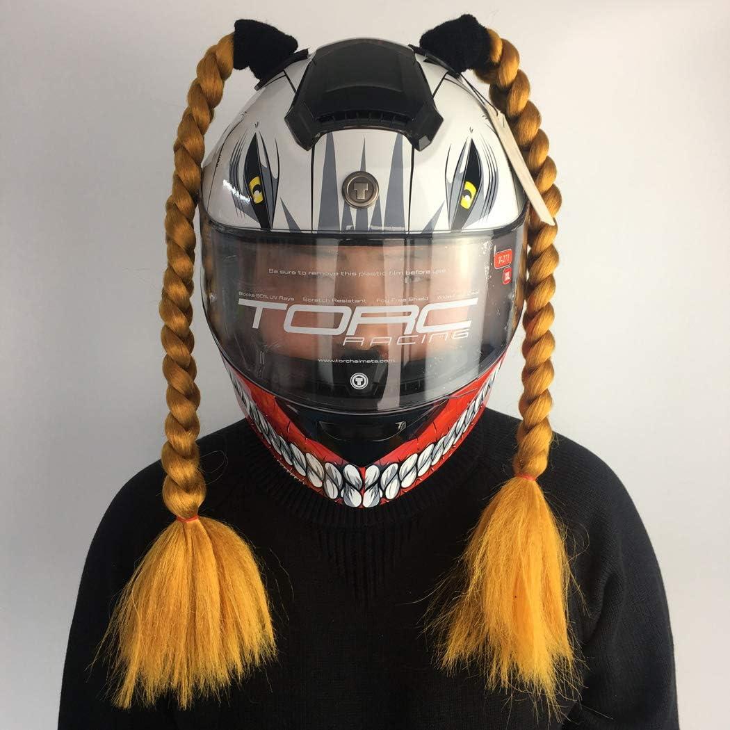 1 pcs DOSEEI Handmade Helmet Pigtail Helmet Ponytail Removable Helmet Braids Used for any Motorcycle Bicycle Helmet A03