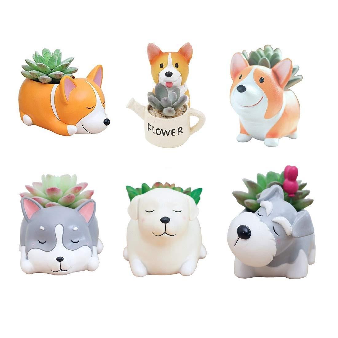 Youfui Animal Flowerpot Succulent Plants Container Desk Mini Ornaments (6pcs Puppy Paradise)