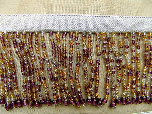 """Amethyst/Gold/Silver/Clear BTY Colorful 2 3/4"""" All Glass Beaded Fringe Trim ~ Lampshades"""