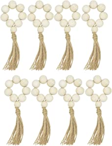 Bojoyo Beaded Wood Napkin Rings with Tassels Table Setting Wedding Party Fall Decor Farmhouse Rustic Country Napkin Holders (8)