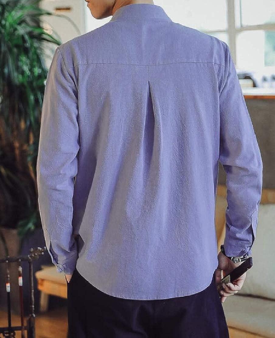 Jotebriyo Mens Linen Chinese Style Basic Mandarin Collar Buttons Shirts