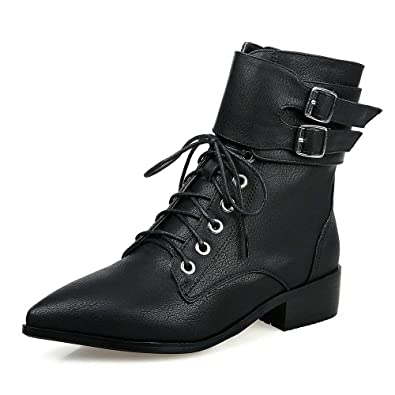 Women 2018 Casual Pointed Toe Lace-up Flat Faux Fur Warm Outdoor Ankle Boots