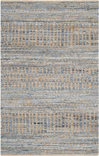Safavieh Cape Cod Collection CAP353A Hand Woven Flatweave Natural and Blue Jute Area Rug (2' x 3')