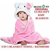 BRANDONN Ultra Soft Organic Premium Bathrobe Cum Bath Gown For Babies Cum Baby Bath Towel(PINK-WHITE)