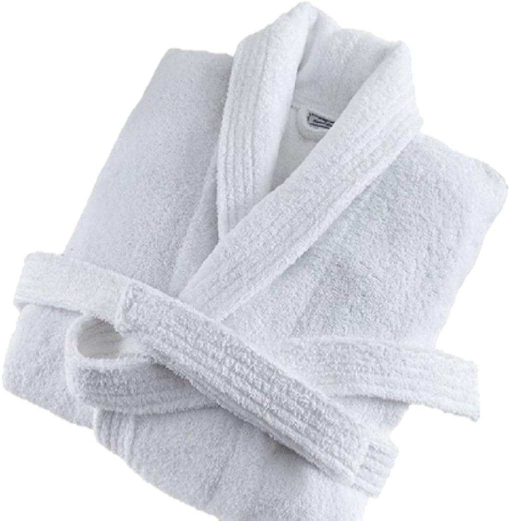 Deluxe Luxury Mens Robe, 100% Cotton White Soft Terry Bathrobe