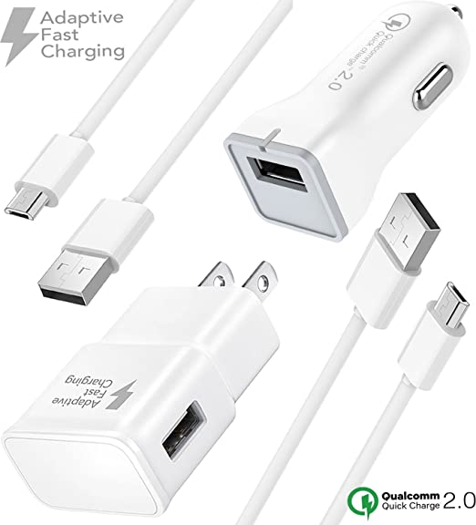 Boxgear Adaptive Fast Charger Kit for Samsung Galaxy S7, S7 Edge, J7, S6,  S6 Edge, Note 5, Note 4, Honor Lite 10, Moto G5, and More, Wall Charger,  Car