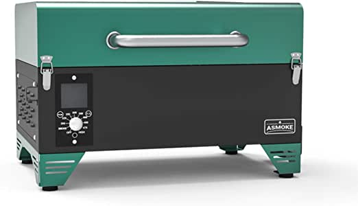 ASMOKE Portable Wood Pellet Grill and Smoker with Auto Temper Control, 8 in 1 BBQ Grill Set AS300, 256 Sq. in. Cooking Area - Includes Waterproof Grill Cover and Meat Probe, Pine Green