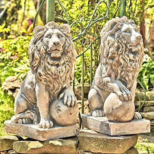 Zaer Ltd. Magnesium Pair of Lion Statues Outdoor Safe 27″ Tall w/Ball Set of 2