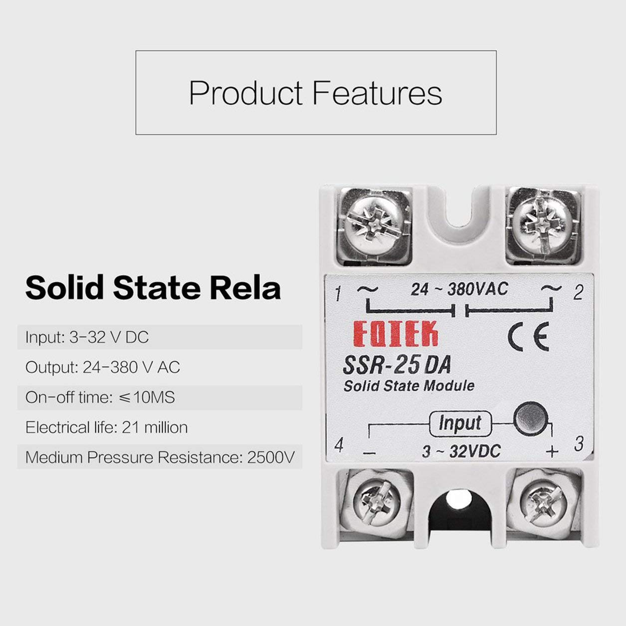 Color:White Dailyinshop Solid State Relay DC-AC 10A 25A 40A 60A 80A 100A 12V 3-32V DC TO 220V 24-380V AC Load Single Phase SSR for Temperature Control