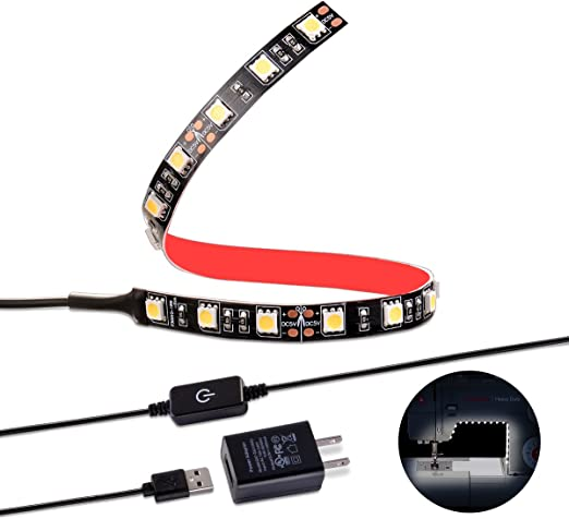 Sunix Sewing Machine LED Light Strip Lighting kit with Touch Dimmer and USB Power Black Fits All Sewing Machines Natural White with Flexible 3M Adhesive Tape