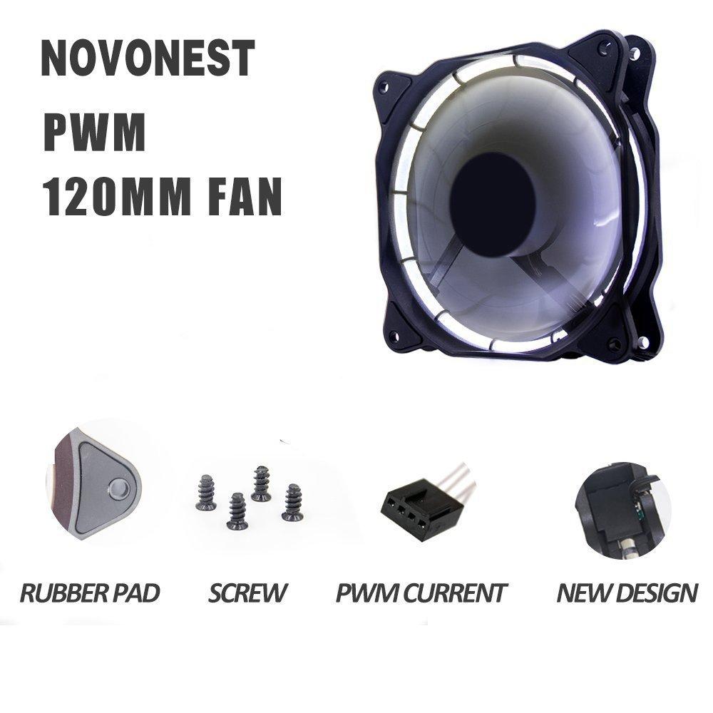 EZDIY-FAB Ventilateur de bo/îtier dordinateur /à Del /à Cadre Double 120 mm PWM,Flux dair /élev/é,Silencieux,radiateurs de processeur et radiateurs,Ventilateurs /à LED Blanches 4-Pin-3-Pack