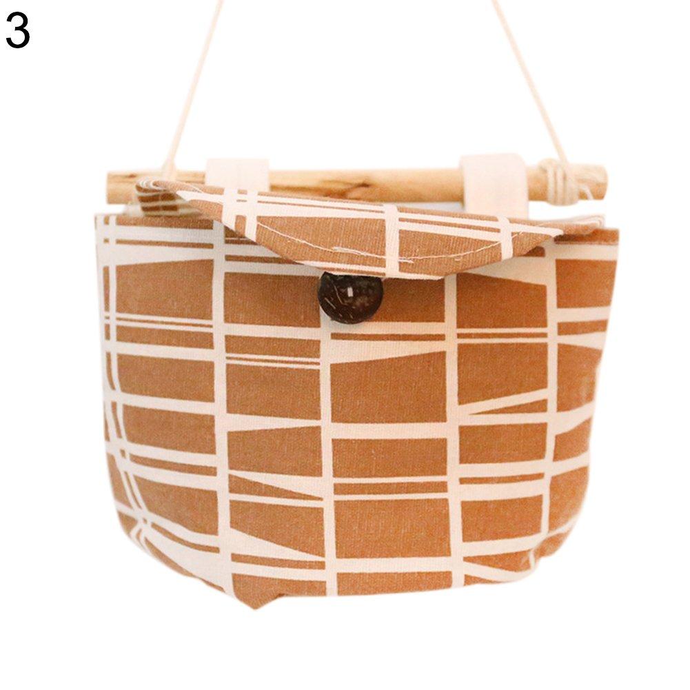 Angel3292 Linen Cotton Wall Door Back Closet Hanging Storage Bag Organizer with Wood Stick