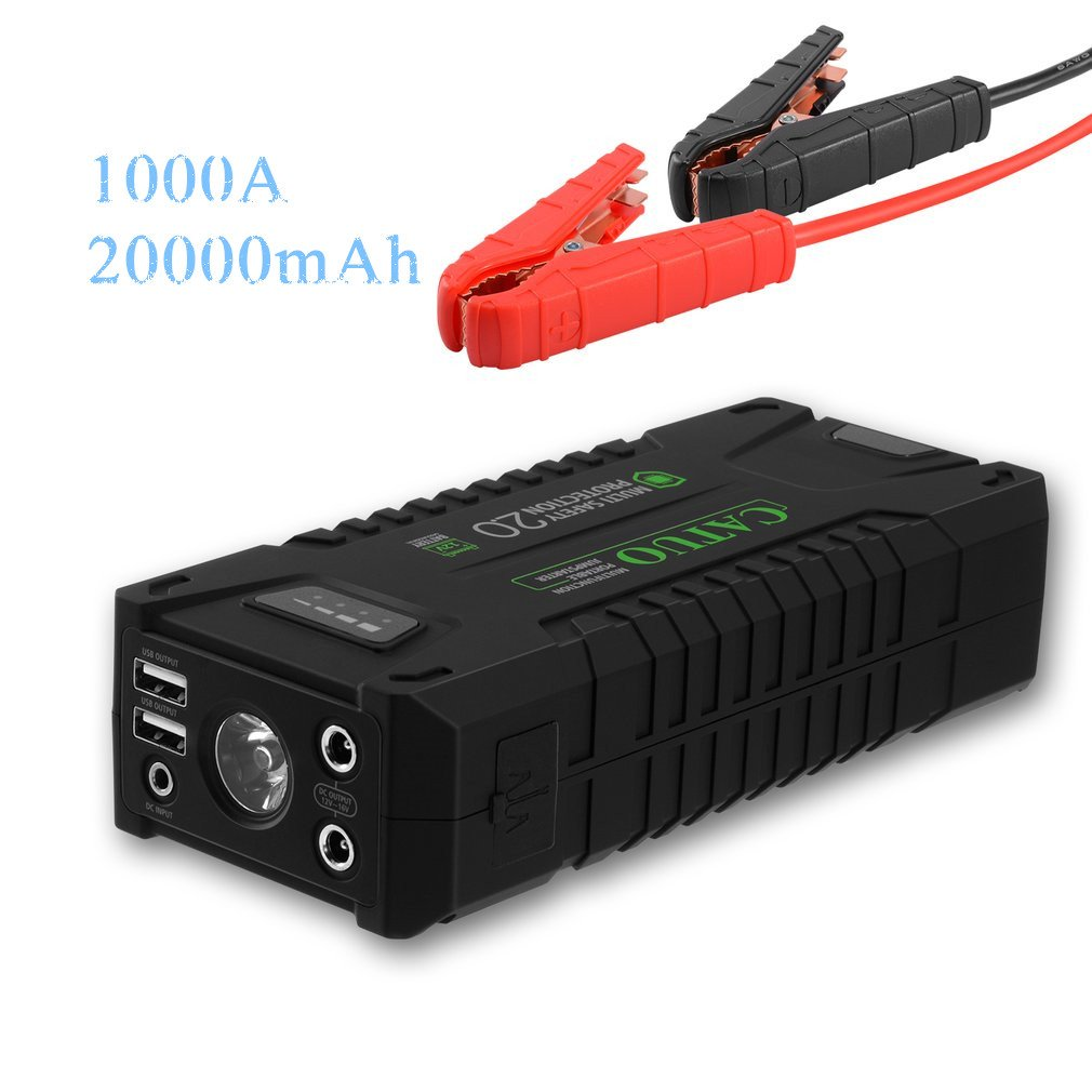 CATUO1000A Peak 20000mAh Portable Car Jump Starter With Smart Jumper Cables, Auto Battery Booster Power Pack Phone Power Bank With Smart Charging Ports