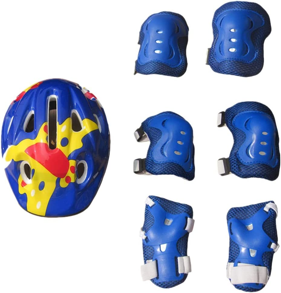 MUMUWU Niños Casco de protección del niño Deportes Gear Set - Rodilleras, los Cojines de Codo, la muñeca de ratón for Bicicletas BMX Rodillo Monopatín de Bicicletas (Color : Azul)