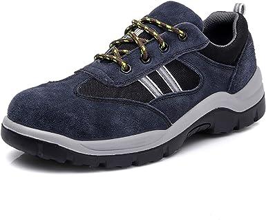 SFOXL Hombre Zapatillas de Seguridad con Punta de Acero Transpirable Zapatos de Trabajo Comodas Calzado de Trabajo Deportivos Zapatillas de Trail Running: Amazon.es: Zapatos y complementos