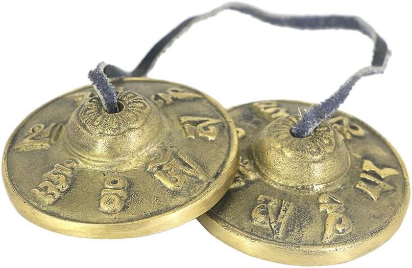 MagiDeal - 1 par de campanas de latón tibetanas estilo budista Tingsha para meditación yoga
