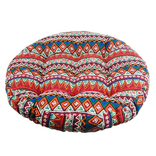Solid Papasan Patio Seat Cushion Round Chair Pad Home Floor Cushion 22 Inch Throw Pillows Bohemia Indoor/Outdoor Red (Papasan Wicker Oversized Chair)