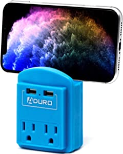 Aduro Surge Protector 2 Outlets Power Strip Station with 2 USB Ports Multiple Outlet Splitter Extender Adapter with Phone Shelf Stand ETL Listed, Blue