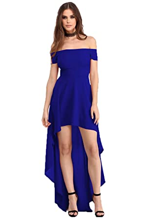 YaoDgFa Sexy Damen Kleider Abendkleid Cocktailkleid Partykleid Kleid  Ballkleid Knielang Festlich Kurzarm Off Schulter Lang Maxi Asymmetrisch   Amazon.de  ... eca358879b