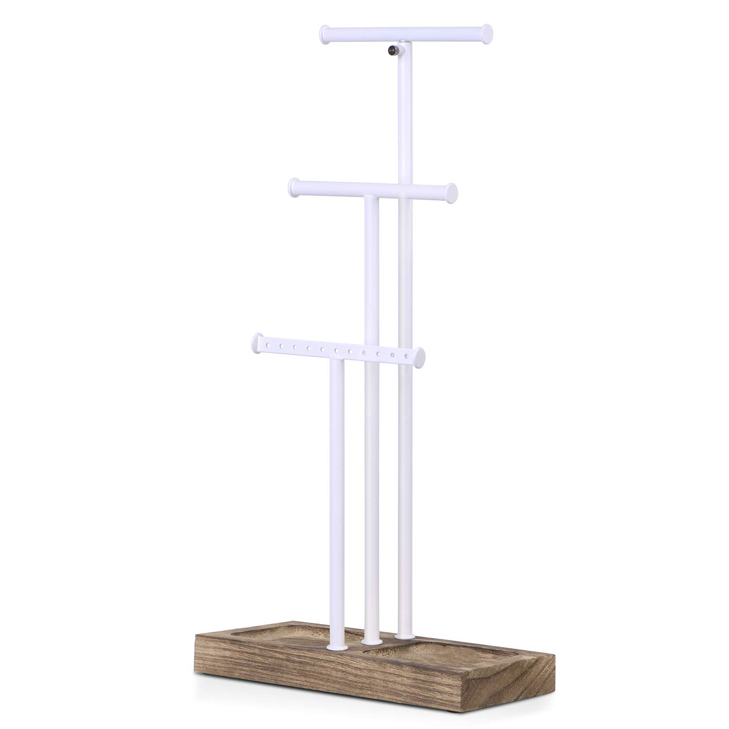 Love-KANKEI Jewelry Tree Stand White Metal and Wood Basic Large Storage Necklaces Bracelets Earrings Holder Organizer White and Carbonized Black by Love-KANKEI