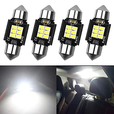 "AMAZENAR 4-Pack 1.25""31MM DE3175 6428 Extremely Bright White 400 Lumens 3020 Chipset 6SMD Non-Polarity Canbus Error Free LED Festoon Bulbs for Interior Car Lights License Plate Dome Map Door Courtesy: Automotive"