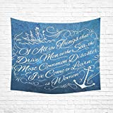 Home Decor Wall Art Nautical Anchor Rustic Wood Cotton Linen Wall Tapestry 60″X 51″,Wall Hanging Tapestries, Bedspread Bedding Bed Cover, Ethnic Home Review
