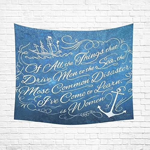 Home Decor Wall Art Nautical Anchor Rustic Wood Cotton Linen Wall Tapestry 60
