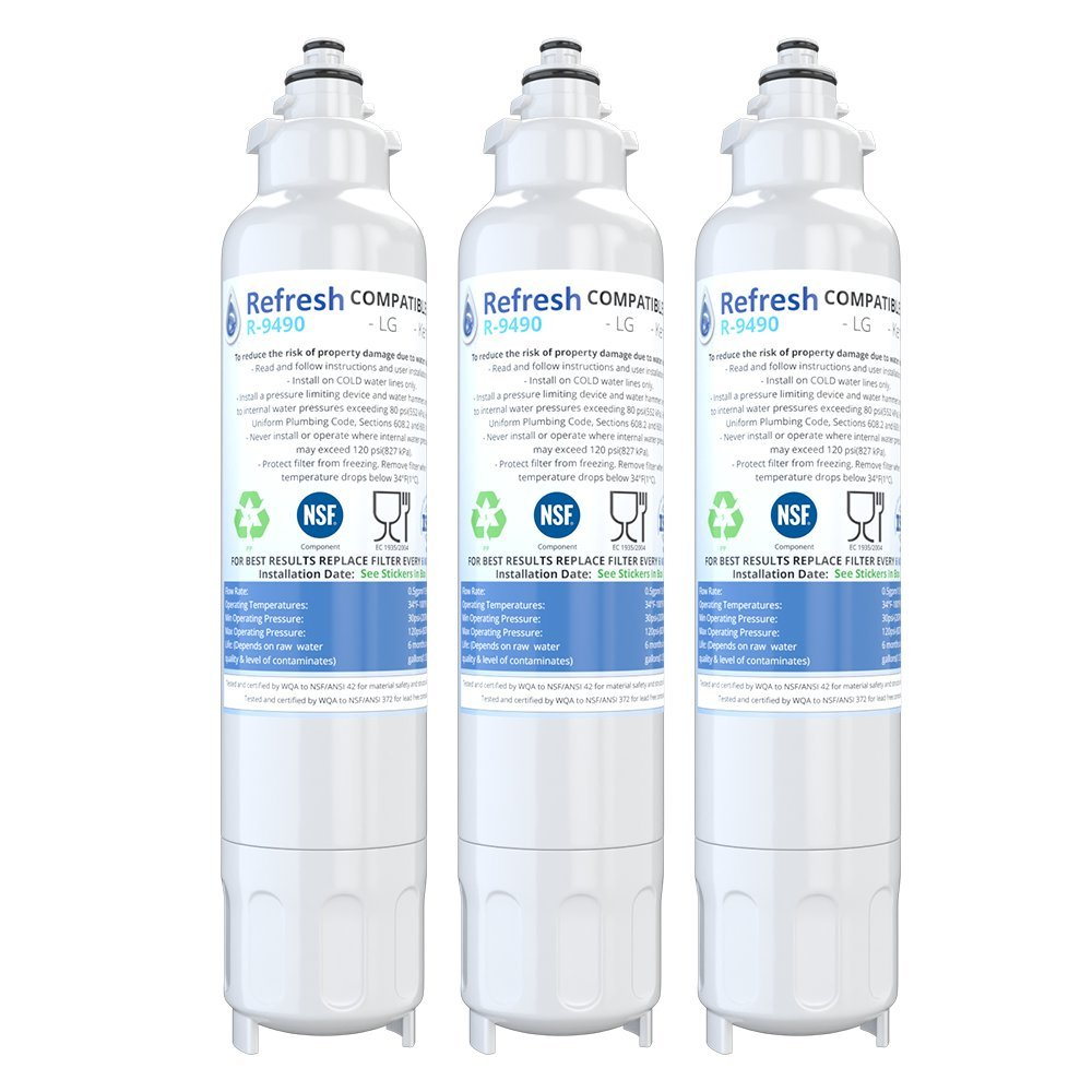 Refresh Replacement for LG LT800P, ADQ73613401 and Kenmore Elite 46-9490, 9490, 469490, ADQ73613402 Refrigerator Water Filter (3 Pack)