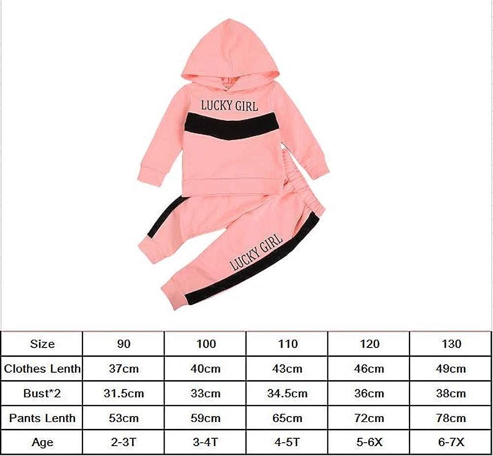 Toddler Kids Little Girls Fall Winter Clothes Lucky Girl Print Hoodies Sweatshirt+Long Legging Pants Outfits Set
