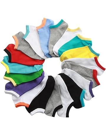 Kanggest.10 Pares Calcetines Cortos Calcetines de Tobilleros Barco Casual para Hombre Mujer Algodón Rico