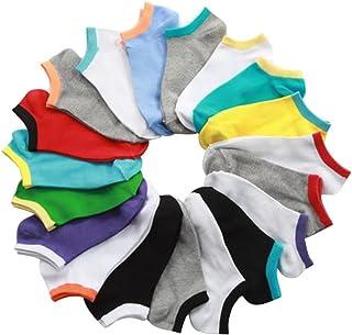 iTemer 10 Pares de Calcetines Cortos de poliéster de algodón para Hombre Calcetines Casuales Verano Calcetines de Barco de Color al Azar