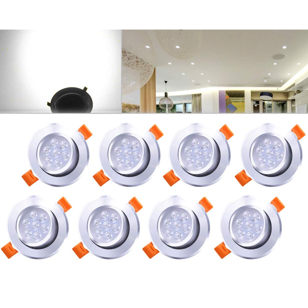 HengdaA® LED recessed light, recessed set ceiling, spot lamp Modern 8pcs 7W Warmweiß Dimmbar