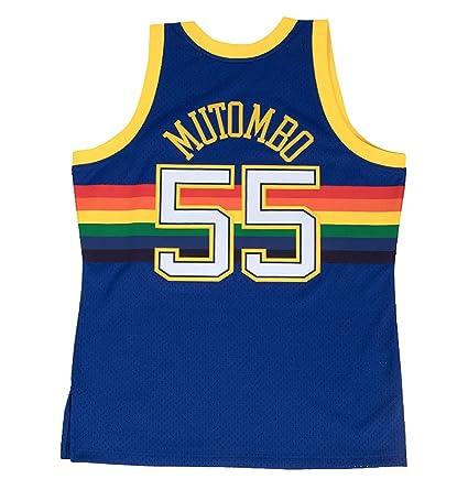 22653438f488 Mitchell   Ness Dikembe Mutombo Denver Nuggets Swingman Jersey Blue (4X- Large)