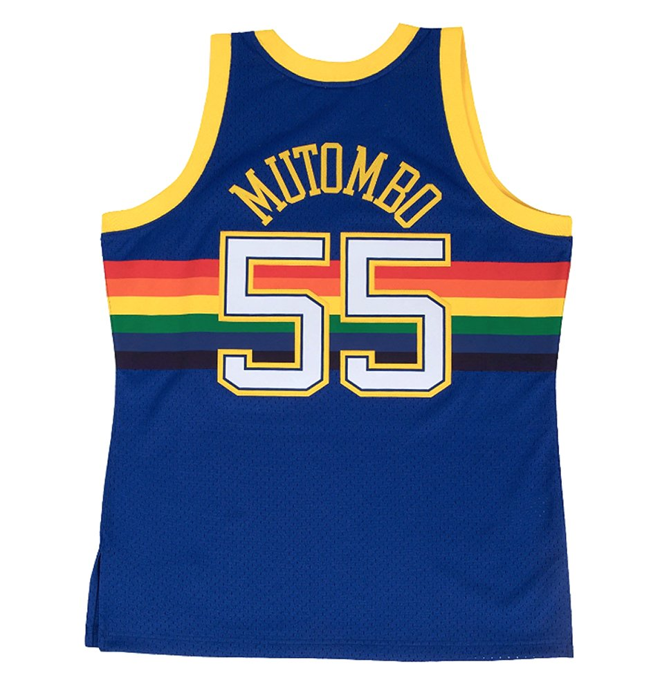 Mitchell & Ness Dikembe Mutombo Denver Nuggets Swingman Jersey Blue (4X-Large)