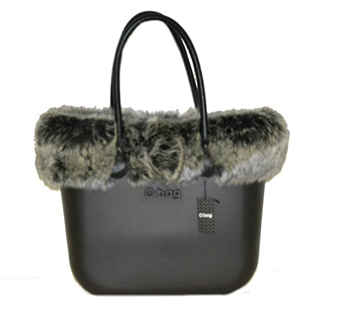Bolsa o Bag Grande Negro asas Eco Piel bordo Eco pellicia zorro