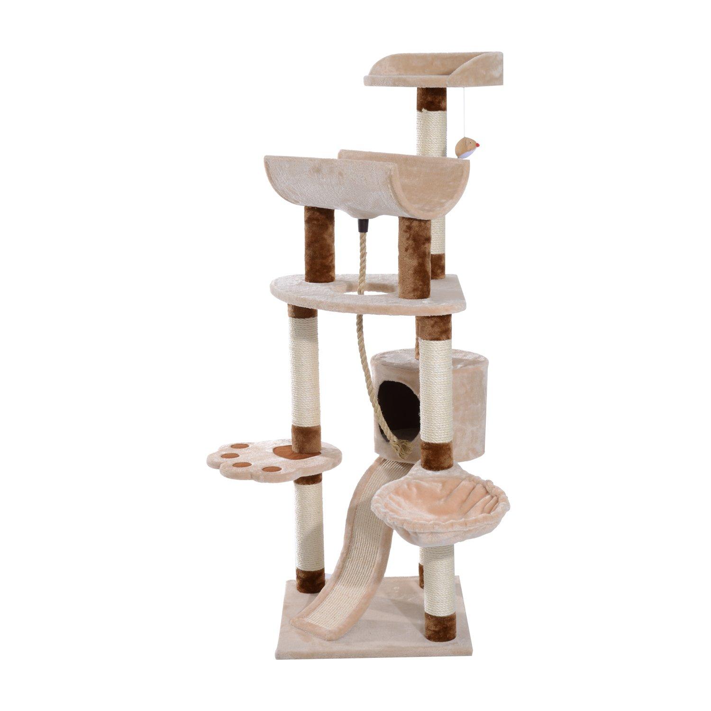 "Pawhut 57"" Cat Tree Scratching Post Tower - Beige/Brown"