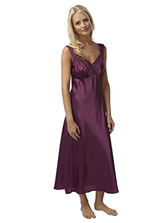 6ae8283013 Ladies Charmeuse Satin Nightdress Long Strappy with Lace Trim (Plum 26 28  UK)