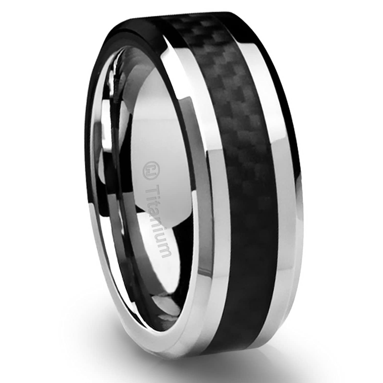8MM Mens Titanium Ring Wedding Band Black Carbon Fiber Inlay And Beveled Edges