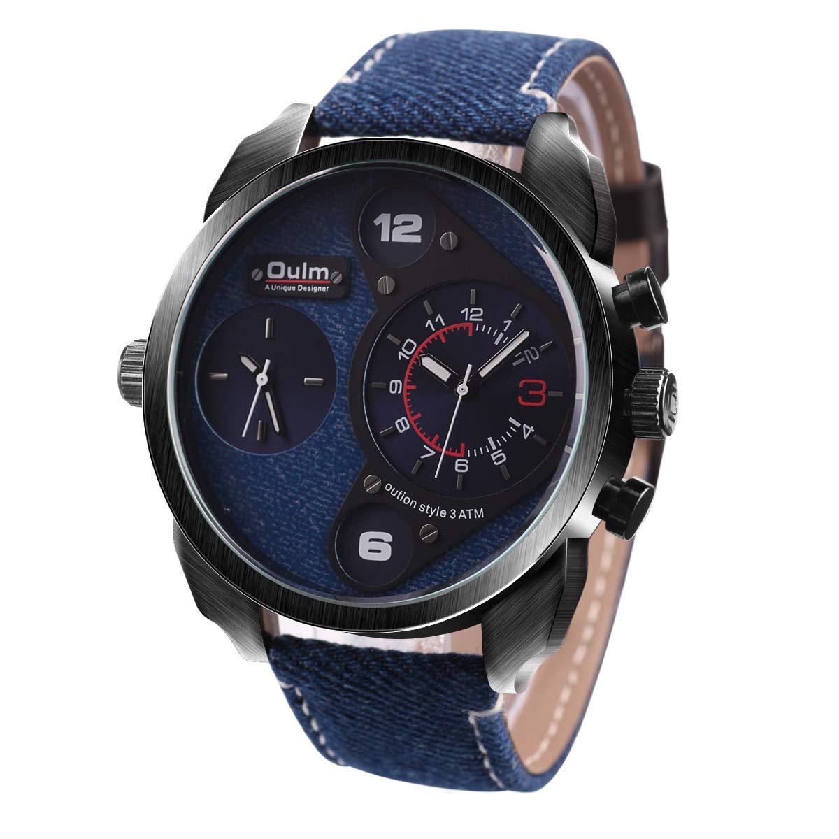 HWCOO Hermoso Relojes de Pulsera Reloj de Cuarzo Grande con Doble Huso horario OULM para Hombres Reloj Punk muñeca Grande para Hombres (Color : 2): ...