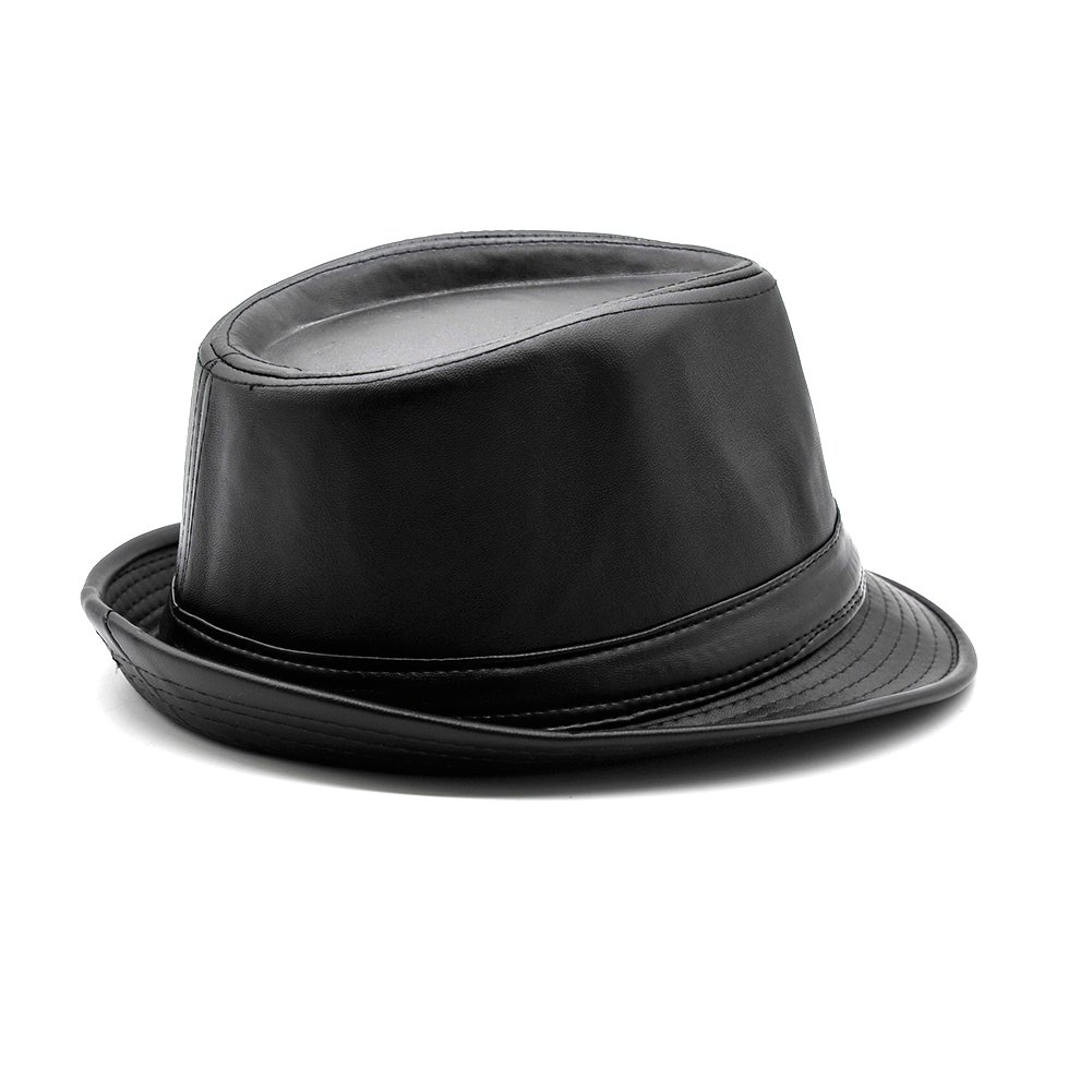 Maylian Black Synthetic Leather Trilby Fedora Hat -Hip Hop Jazz Hats Short  BRIMM at Amazon Men s Clothing store  9377bba15050