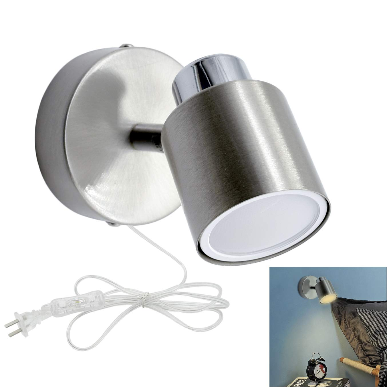 W-LITE Indoor LED Wall Spotlight Adjustable Spot Light-5W Multi-Purpose Wall Lamp Classical Surface Mounted Downlight GU10 Bulb with US Plug for Bedside Headboard Picture, Polished Chrome, Warm White