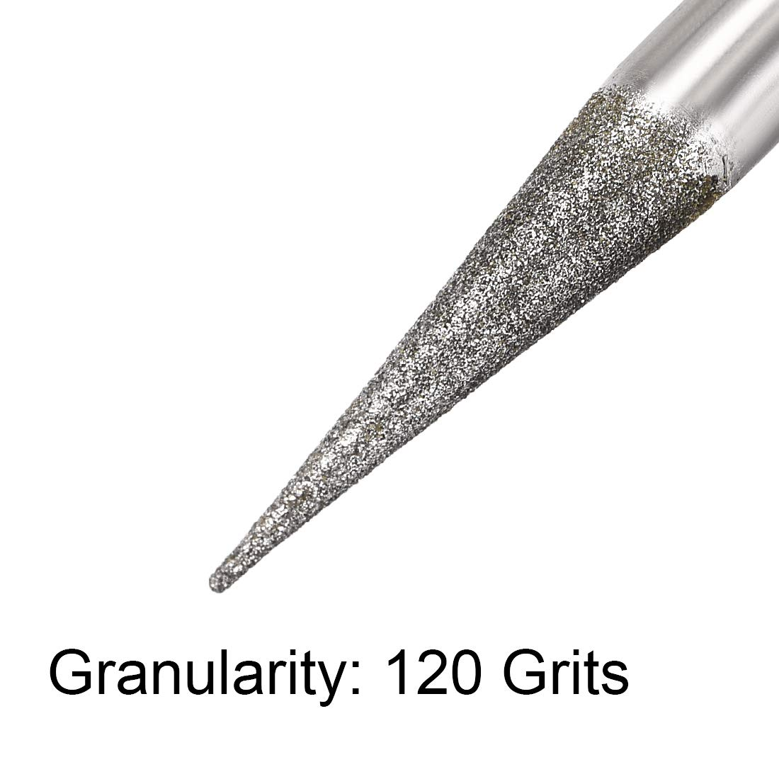 uxcell Diamond Burrs Bits Grinding Drill Carving Rotary Tool for Glass Stone Ceramic 120 Grit 1//4 Shank 6mm Pointed 5 Pcs