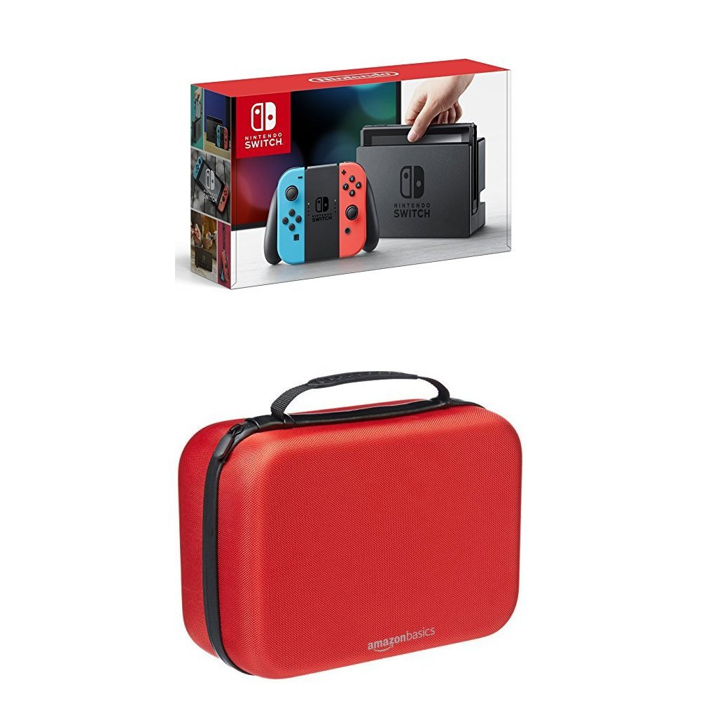 Nintendo Switch - Neon Blue and Red Joy-Con with AmazonBasics Travel & Storage Case (Red)