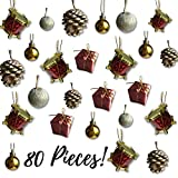 Mini Christmas Ornaments - Assorted Set of 80 Ornaments - Gold Mini Ball Ornaments - Pinecones and Presents - Mini Red Drums - Each Ornament is Approximately One Inch