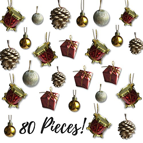 Mini Christmas Ornaments - Assorted Set of 80 Ornaments - Gold Mini Ball Ornaments - Pinecones and Presents - Mini Red Drums - Each Ornament is Approximately One Inch (Pinecone Shatterproof Ornament)