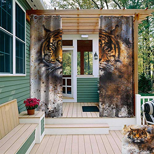 (leinuoyi Tiger, Outdoor Curtain Extra Wide, Wild Beast Looking Straight into The Eyes of The Viewer Angry Looking Panthera Tigris, for Balcony W120 x L108 Inch Multicolor)