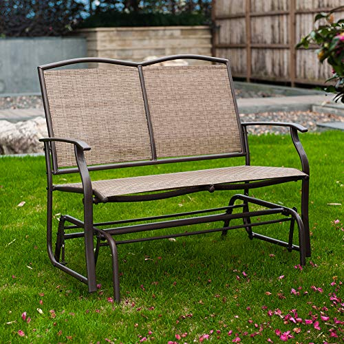 SunLife Outdoor Swing Glider 2 Person, Patio Furniture Loveseat Bench Rocking Chair with Brown Rattan Wicker Seatback