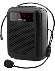 Retekess PR16R Portable Voice Amplifier High Power 12W Amplifier with FM Radio MP3 Player Recording Headset Microphone for Teaching Training (Black)
