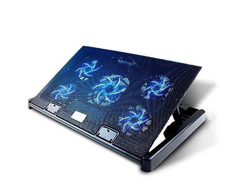 Olliwon Base de Refrigeración para Ordenador Portátil,5 Ventiladores Ultrasilenciosos con LED, Velocidad Ajustable, hasta 17.6 Pulgadas con 2 Puertos ...