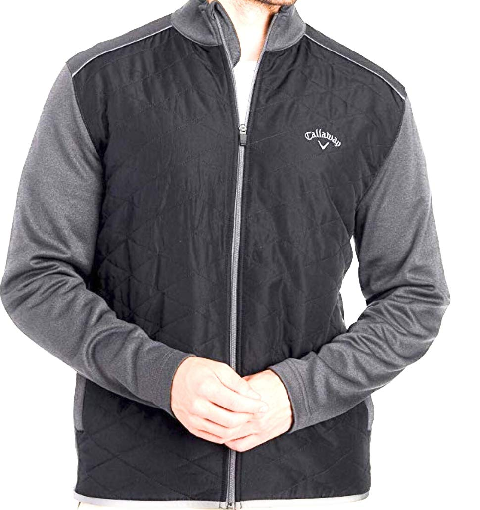 Callaway Quilted Full Zip Golf Jacket Iron Gate Heather Opti-Shield Size XL by Callaway